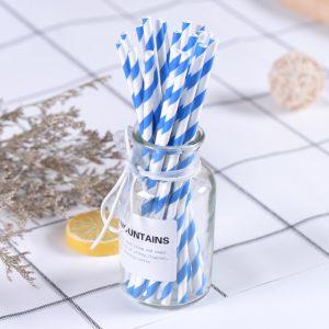 ống hút giấy sọc xanh dương